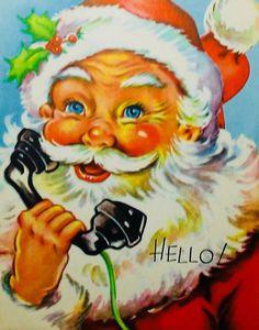 #retrochristmas, Vintage Christmas Card, Retro Christmas Card, #santa, #creepysanta, #christmascall
