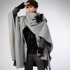 deepstyle wool blend cape coat