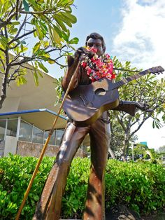 "Salute ""The King"".  The Elvis Presley statue at the Blaisdell Center.  Epoch making ""Aloha from Hawaii"" via satellite concert in January 14, 1973 was aired in over 40 counties."