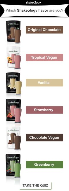 Take this fun quiz to see which flavor you are: vanillashakeology Shakeology Flavors, Vegan Shakeology, Beachbody Shakeology, Chocolate Shakeology, Protein Shake Recipes, Protein Smoothies, Fruit Smoothies, Beach Body Inspiration, Magic Bullet Recipes