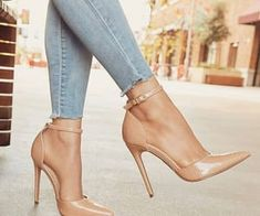 Lace Up Heels, Pumps Heels, Stiletto Heels, Heeled Sandals, Stilettos, Nude High Heels, Sandals Outfit, Nude Pumps, Pretty Shoes