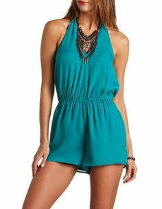 v-neck halter romper. Just bought this the other day, normally I don't like rompers but this is super cute! And looks great on!