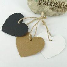 50 Pcs 5.5 * 6 cm DIY Kraft marcas de vestuário de papel do coração presente cartões de aniversário festa de casamento decoração artesanato branco / preto(China (Mainland))