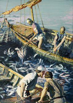 Lucas 5:4-7 Cuando terminó de hablar, dijo a Simón: Boga mar adentro, y echad vuestras redes para pescar. respondiendo Simón, le dijo: Maestro, toda la noche hemos estado trabajando, y nada hemos pescado; mas en tu palabra echaré la red. Y habiéndolo hecho, encerraron gran cantidad de peces, y su red se rompía. Entonces hicieron señas a los compañeros que estaban en la otra barca, para que viniesen a ayudarles; y vinieron, y llenaron ambas barcas, de tal manera que se hundían.