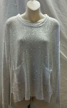 BELLDINI White Sweater~Sequins Women's Size S Long Sleeve Tunic Holiday Sparkle in Clothing, Shoes & Accessories, Women's Clothing, Sweaters | eBay