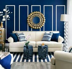 31 Living Room Color Schemes Ideas To Looking wider Classy Living Room, New Living Room, Living Room Decor Blue, Blue And Gold Living Room, Living Room Color Schemes, Living Room Designs, Blue Rooms, Living Room Inspiration, Room Colors