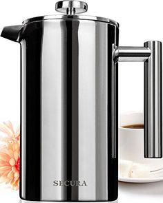 Secura Stainless Steel French Press Coffee Maker 18/10 Bonus Stainless Steel Screen (1000ML)