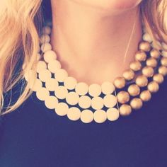 Bleach- white resin and gold painted wood bead bib necklace from History & Industry. $180