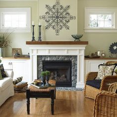 White painted built-ins with stained mantle/ shelves. Gorgeous.