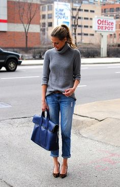 Rolled up boyfriend jeans with grey sweater, leopard heels and ink blue bag