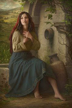 """the woman at the well.Jesus told the woman he could give her """"living water"""" so that she would never thirst again. Jesus used the words living water to refer to eternal life, the gift that would satisfy her soul's desire only available through him. Lds Art, Bible Art, Scripture Study, Bible Pictures, Prophetic Art, Biblical Art, Living Water, Christian Art, Woman Painting"""