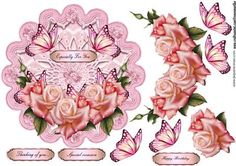 Lace topper Roses Butterflies on Craftsuprint designed by Marijke Kok - Gorgeous lace topper with pink roses