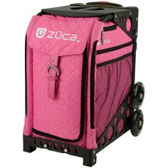 Zuca Sport Wheeled Complete Luggage Set With Frame Black and Insert Bag Hot Pink With Rhinestones Dance Competition Bag, Bag Skate, Zuca Bag, Rolling Bag, Rolling Backpack, Pink Quilts, Louis Vuitton, Frame Bag, Luggage Sets