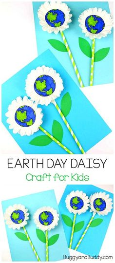 Earth Day Craft for Kids: Cupcake Liner Daisy - Buggy and Buddy - Earth Day Craft for Kids: Cupcake Liner Daisy Flower Craft for Kids- Use cupcake liners and straws - Earth Day Projects, Spring Art Projects, Spring Crafts, Kindergarten Crafts, Classroom Crafts, Preschool Crafts, Flower Craft Preschool, Earth Craft, Earth Day Crafts
