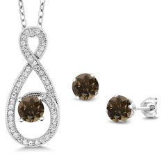 1.98 Ct Round Brown Smoky Quartz 925 Sterling Silver Pendant Earrings Set *** Check out the image by visiting the link. (As an Amazon Associate I earn from qualifying purchases)