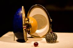 the Lapis-Lazuli Hen Egg, complete with yellow enamel yolk: Faberge egg