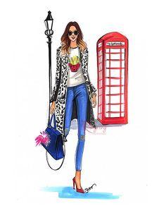 Fashion Illustration, London fashion style, Fashion sketch, Fashion drawing, Fashion wall art, Fashion print, titled London Calling