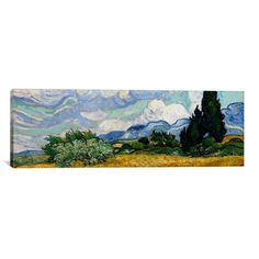 iCanvas 'Wheatfield with Cypresses 1889' by Vincent Van Gogh Painting Print on…