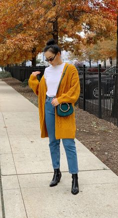 b358cd39a01 Mustard Yellow Cardigan and white T-shirt. Mom jeans
