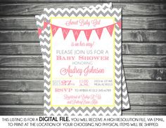 no yeelow of course. add polka dots midway to break up. option #2 Girls Baby Shower Invitation  Chevron by SassyGraphicsDesigns, $13.00