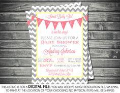 Girls Baby Shower Invitation - Chevron, Banner, Pink, Yellow, Gray, Printable, Digital $13