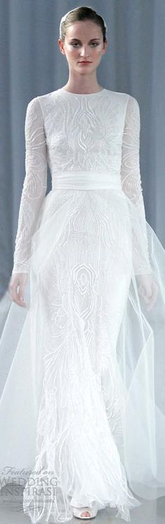 Monique Lhuillier fall 2013 - Long sleeve wedding dresses a line tulleover skirt