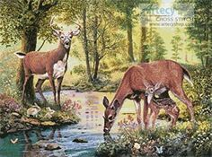 Woodland Stream cross stitch pattern.