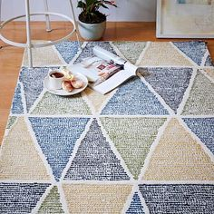 For H's room. Much cuter in person. Dotted Triangles Wool Rug - Blue Lagoon #westelm