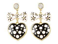 Betsey Johnson Pretty Polka Dot Heart Bow Drop Earrings