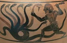 An Exceptional and Important Caeretan Black-figure Hydria Attributed to the Eagle Painter: Herakles Battling the Lernean Hydra Greek Pottery, Pottery Art, Ceramic Pottery, Greek Animals, Art Antique, Black Figure, Legendary Creature, Getty Museum, Greek Art