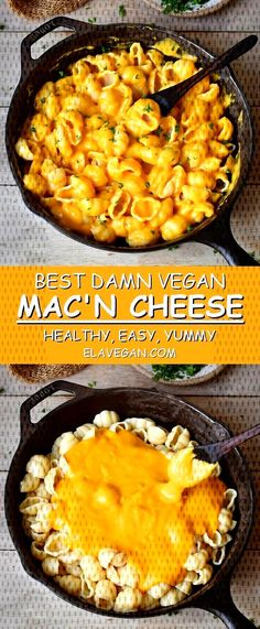 This healthy vegan Mac and Cheese recipe is easy to make and contains only plant-based whole food ingredients. Serve this Mac 'n Cheese with regular pasta, gluten-free pasta or zucchini noodles (zoodles) if you prefer a paleo version. Vegan Mac And Cheese, Mac Cheese Recipes, Seafood Recipes, Paleo Recipes, Whole Food Recipes, Chicken Recipes, Easy Dinner Recipes, Easy Meals, Vegan Pasta Sauce