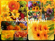 Καλημέρα! Fall Flowers, Collage, Painting, Beauty, Art, Art Background, Autumn Flowers, Collages, Painting Art