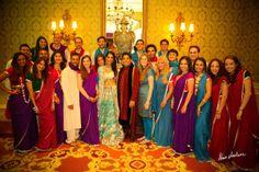 Fun and colorful indian bridal party shot | Image courtesy of Alain Martinez Photography. Discover more Indian Bridal Party inspiration at www.shaadibelles.com #weddings #southasian #shaadibelles #bridesmaids #groomsmens