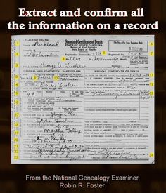 Extract and confirm all the information on a record http://www.robinsavingstories.blogspot.com/2016/07/extract-and-confirm-all-information-on.html #genealogy
