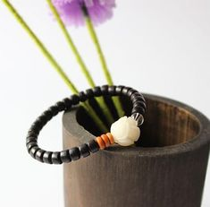 Bracelet Lotus Tagua Nut - Coconut Shell with Olive Nut and Pure Crystal Coconut Shell, Lotus, Shells, Pure Products, Beads, Crystals, Bracelets, Handmade, Jewelry