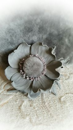 Ribbon Art, Leather Flowers, Hair Raising, Leather Craft, Brooch, Embroidery, Silver, Handmade, Crafts