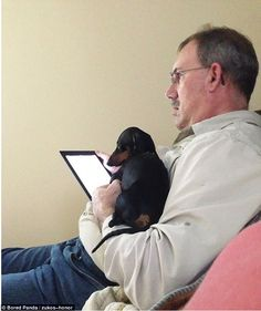 A father didn't want a pet dog or an iPad and now he seems to be quite happy with both a d...