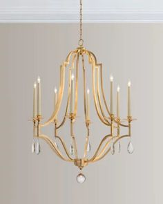 Gold Leaf & Crystal Chandelier by John-Richard Collection at Horchow. Dining Room Lighting, Chandelier, Gold Light, Light Decorations, Chandelier Bedroom, Dining Chandelier, Gold Dining, Dining Room Chandelier, Transitional Chandeliers