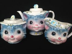 LEFTON CHINA MISS PRISS TEA POT CREAMER SUGAR W LIDS BLUE KITTY CAT VINTAGE 50s #LEFTON