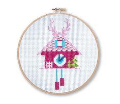 Pink Cuckoo Clocks Cross Stitch Pattern Instant by tinymodernist