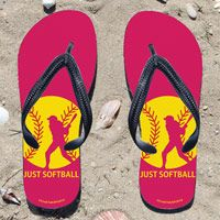 Just Softball on Fuchsia Flip Flops - Kick back after a softball game with these great flip flops! Fun and functional flip flops for all softball players and fans.