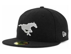 Black White Calgary Stampeders 59Fifty Fitted Cap by CFL x NEW ERA