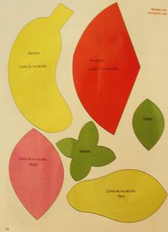 lindas frutas para sua decoração...     Modo de fazer....aproveite as sobrinhas de tecido e mãos à obra.....    Moldes das frutas, ampliar...