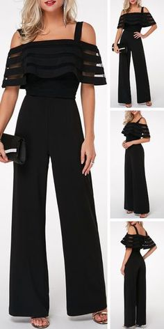 Strappy Cold Shoulder Overlay Embellished Black Jumpsuit On Sale At Modlily., Strappy Cold Shoulder Overlay Embellished Black Jumpsuit On Sale At Modlily. Fashion outfit, simple and special, popular and hot sale. It is time to e. Outfit Chic, Jumpsuit Outfit, Black Jumpsuit, Embellished Jumpsuit, Mode Hijab, Dress Sewing Patterns, Mode Outfits, Mode Style, Pattern Fashion