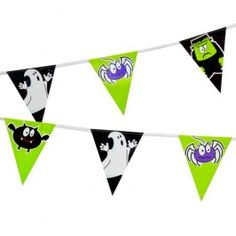 Get into the spirit this halloween and transform your home into a haunted house by hanging our Frite Nite bunting on the walls, you can even drape some over the mantelpiece or doorways for an extra scary effect! Includes 3.65 metres (approx) of plastic bunting designed with 4 of our creepy characters. Keep away from children and pets. #poundlandhalloween