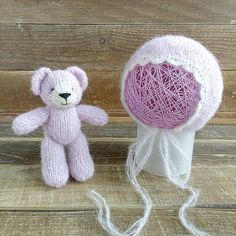 Check out this item in my Etsy shop https://www.etsy.com/listing/597546989/newborn-photo-prop-set-bonnet-teddy-bear