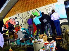 Mural Andruchak - Na arte o Mundo se transforma - geometricismo - 3x8m - Pinto Bandeira - RS - [ Participação colaborativa na pintura de mural monumento em relevo.]