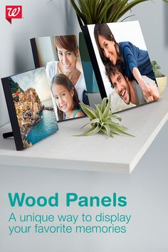 Pressed wood photo panels accentuate the brilliant colors and clarity in your photo with a protective, glossy finish. Each print comes with a sturdy tabletop display, keyhole hangers for wall display and a black woodgrain finish.