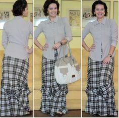 blog vitrine @ugust@ LOOKS | por leila diniz: Semana saga do vestido longo que amooo hoje com xadrez hering + casaqueto + DEUS + sorteio