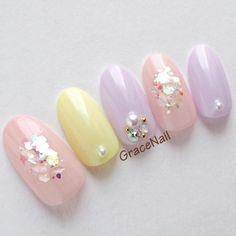 Check it out. Japanese Nail Design, Japanese Nail Art, Nail Designs Spring, Simple Nail Designs, Get Nails, Hair And Nails, Kawaii Nail Art, Korean Nails, Nail Ring